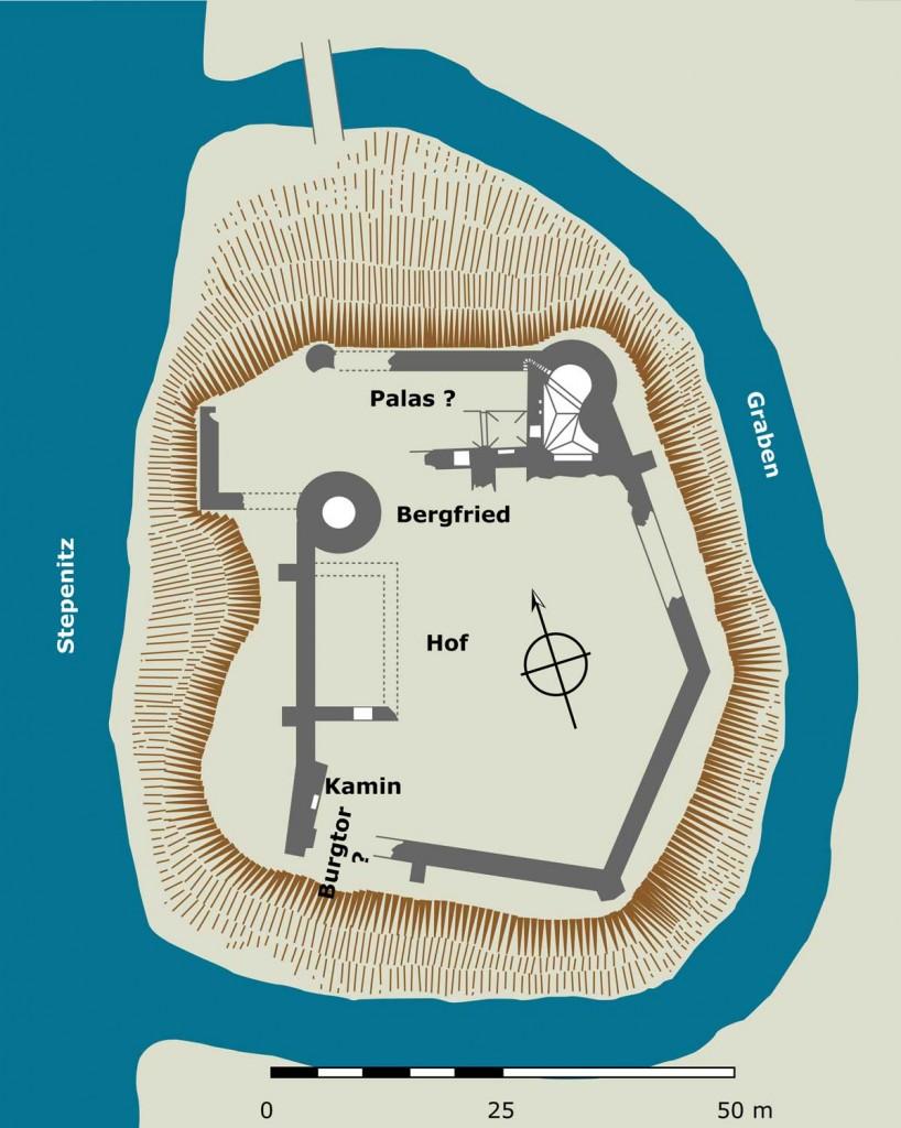 Burg Putlitz an der Stepenitz Umzeichnung nach Die Kunstdenkmäler der Provinz Brandenburg. 1.1. Kreis Westprignitz, 1909, 262. Abb. 252