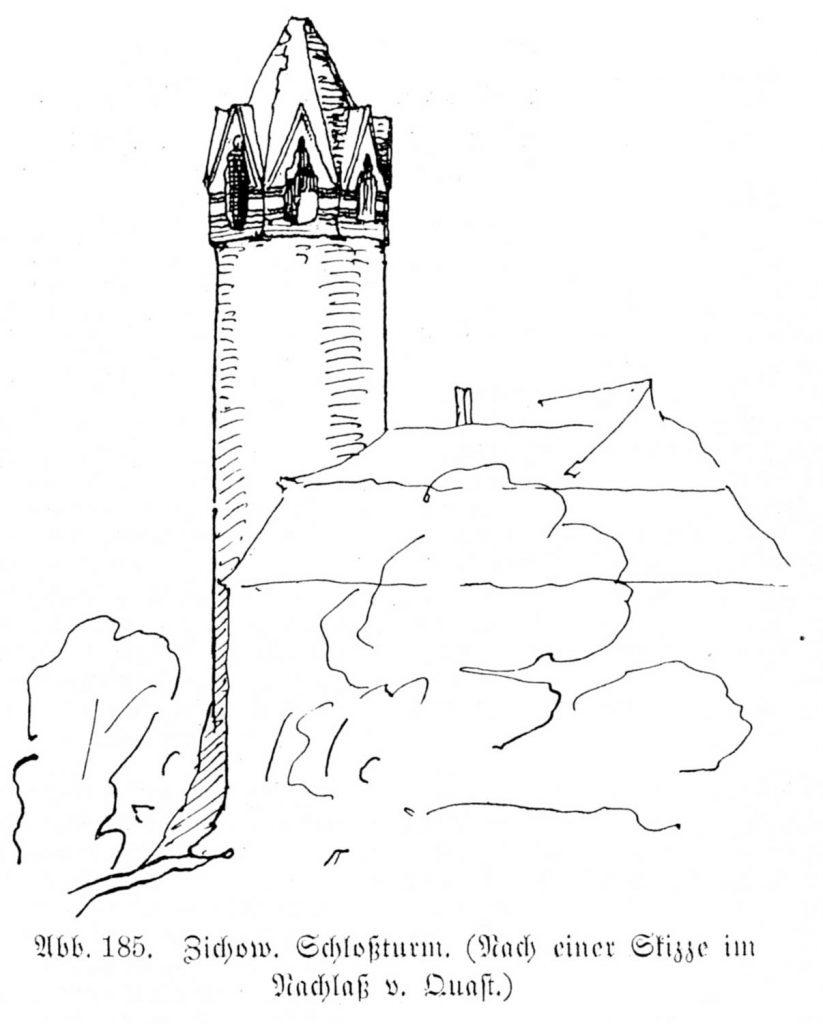 Burgturm von Zichow im 19. Jahrhundert auf einer Skizze aus dem Nachlass Ferdinand von Quasts (Blunck/Eichholz, Die Kunstdenkmäler der Provinz Brandenburg. 3.1. Kreis Prenzlau. 1921. S. 303, Abb. 185.)