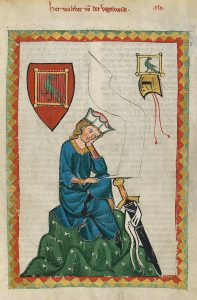 Walther von der Vogelweide in der Manessischen Liederhandschrift (Quelle: Wikipedia)