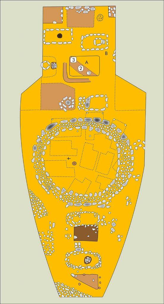 Plan der Grabungsfläche aus dem vorigen Jahrhundert. Umzeichnung nach: Bohm,